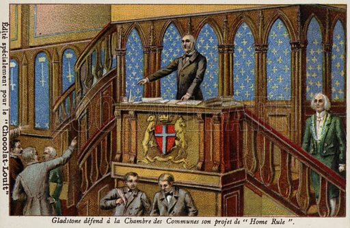 Gladstone defending his policy for Irish Home Rule in the House of Commons. French educational card, late 19th/early 20th century.