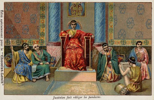 The Byzantine Emperor Justinian I dictating the Pandects, 6th Century. French educational card, late 19th/early 20th century.
