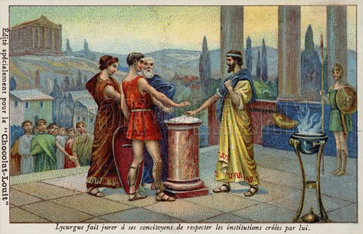 Lycurgus of Sparta making his fellow citizens swear to respect the institutions established by him. French educational card, late 19th/early 20th century.