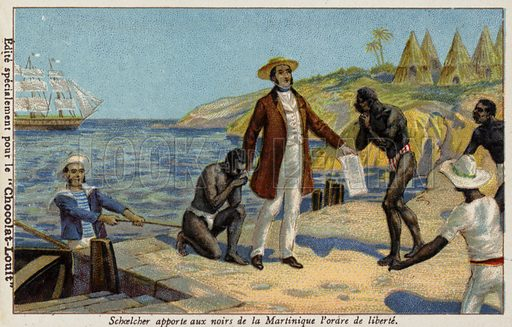 Victor Schoelcher bringing news of their freedom to the slaves of Martinique, c1848. French educational card, late 19th/early 20th century.