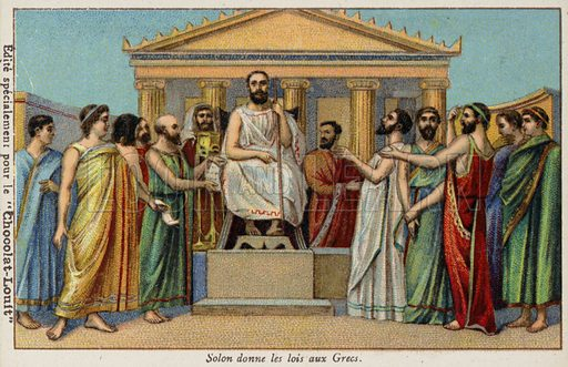 Solon giving laws to the Greeks, 6th Century BC. French educational card, late 19th/early 20th century.