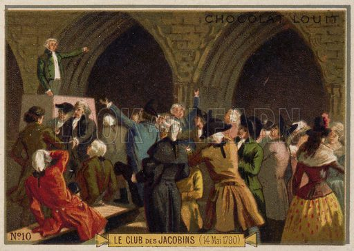 The Jacobin Club, French Revolution, 14 May 1790. French educational card, late 19th/early 20th century.