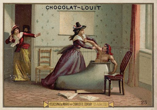 The assassination of Jean-Paul Marat by Charlotte Corday, French Revolution, 13 July 1793. French educational card, late 19th/early 20th century.