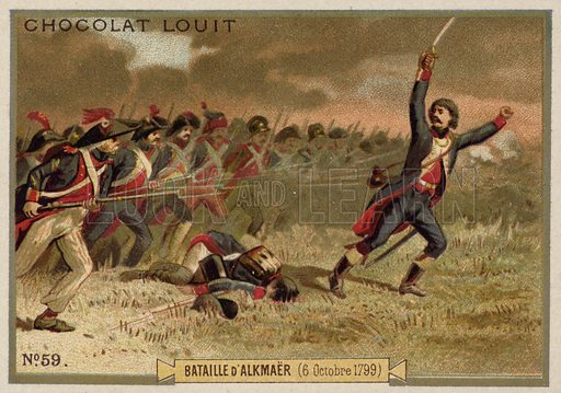 Battle of Alkmaar, French Revolutionary Wars, 6 October 1799. French educational card, late 19th/early 20th century.