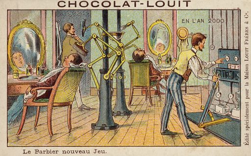 Automated barber's shop in the year 2000. French educational card, late 19th/early 20th century.