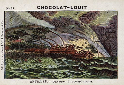 Hurricane on Martinique. French educational card, late 19th/early 20th century.