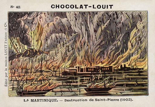 Destruction of Saint-Pierre, Martinque, by the eruption of Mont Pelee, 1902. French educational card, late 19th/early 20th century.