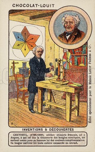Michel Eugene Chevreul (1786–1889), French chemist. French educational card, early 20th century.