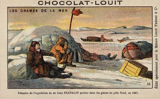 Sir John Franklin's disastrous expedition in search of the Northwest Passage, 1847. French educational card, late 19th/early 20th century.