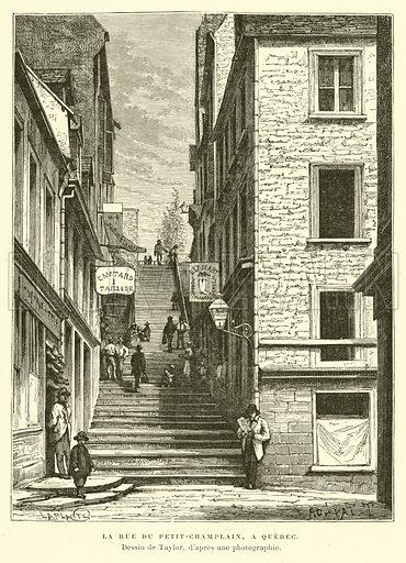 Rue du Petit-Chaplain, Quebec City, Canada. Illustration for La Nouvelle-France by Eugene Guenin (Hachette, 1900).