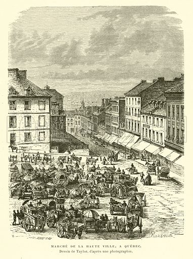 Market of the Upper Town, Quebec City, Canada. Illustration for La Nouvelle-France by Eugene Guenin (Hachette, 1900).