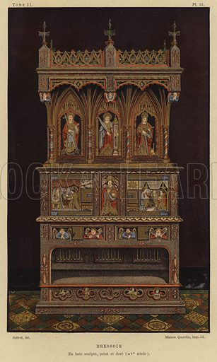 Carved, painted and gilded wooden dresser, 15th Century. Illustration for Dictionnaire de l'Ameublement by Henry Havard (Maison Quantin, c 1890).