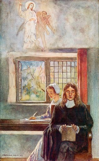 John Milton dictating Paradise Lost to his daughter. Illustration for The World's Great Books edited by Arthur Mee and JA Hammerton (c 1910).