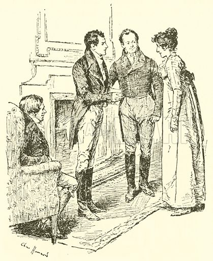 Emma is presented to Frank Churchill. From Emma, by Jane Austen. Illustration for The World's Great Books edited by Arthur Mee and JA Hammerton (c 1910).