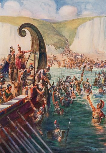 The landing of the Romans in Britain, 54 BC Illustration for Cassell's History of the British People (Waverley, c 1920).