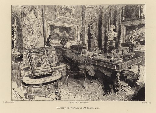French novelist and playwright Alexandre Dumas the Younger in his study.