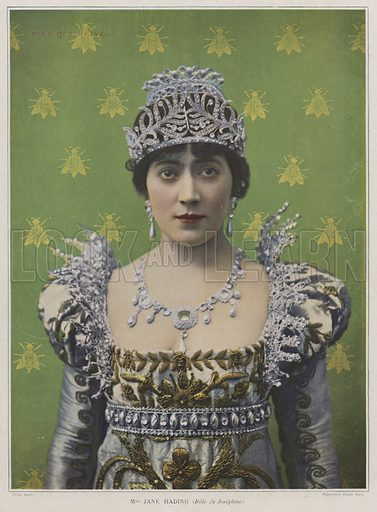 Jane Hading, French actress, as Josephine in Plus que Reine, 1899. Illustration for Le Theatre, May 1899.