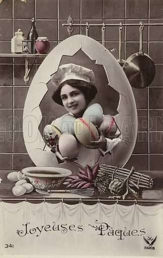 French Easter card, showing girl in kitchen. Postcard, early 20th century.