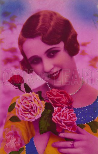 Pretty girl, wearing pearls, holding roses, in psychedelic colours