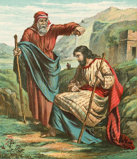 Samuel blessing Saul. Illustration for Bible Stories and Pictures (Religious Tract Society, c 1890).