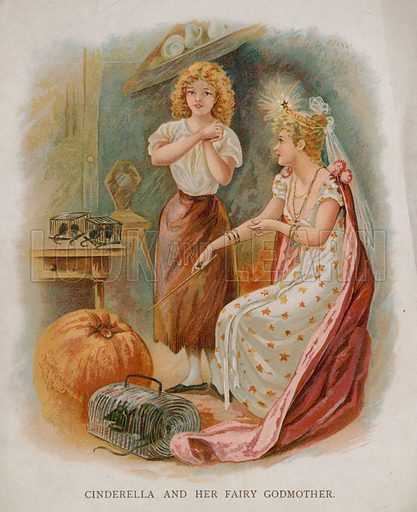 Cinderella and her fairy godmother. Illustration for Cinderella, Raphael Tuck & Sons, London, Paris, New York.