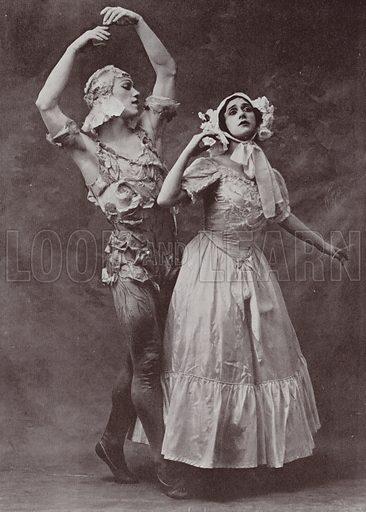 Vaslav Nijinsky and Tamara Karsavina, Russian ballet dancers, at the Royal Opera, Covent Garden.