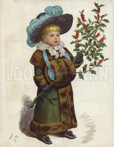 Child holding a large holly branch