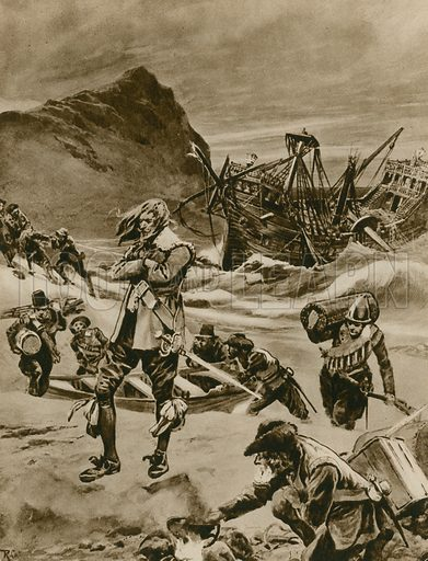 The wreck that gave Britain the Bermudas. Sir George Somers, Admiral of the Virginia Company, and the crew of the Sea Venture shipwrecked on Bermuda, 1609. Illustration for The Pictured Encyclopaedia (Standard Literature Company, c 1920).