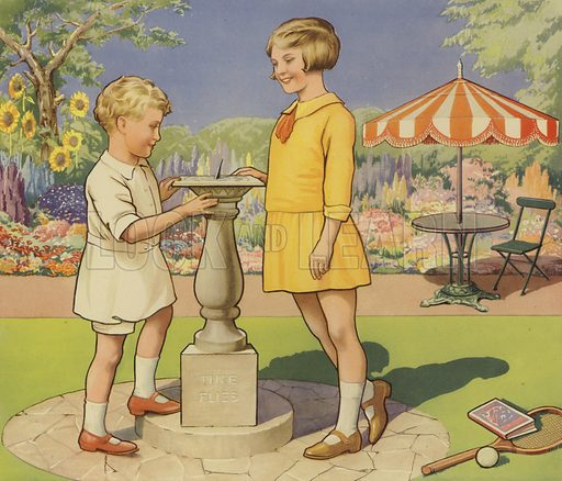 Boy and girl looking at a sundial in a garden
