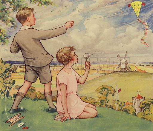Boy and girl flying a kite