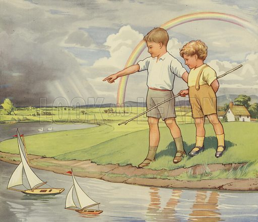 Boys playing with toy sailing boats