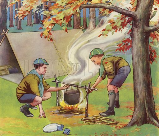 Wolf Cubs cooking dinner