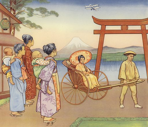Japanese children watching an early aircraft. Educational poster, c 1930.