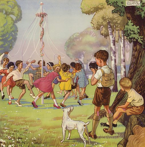 Boy filming children dancing around a May Pole