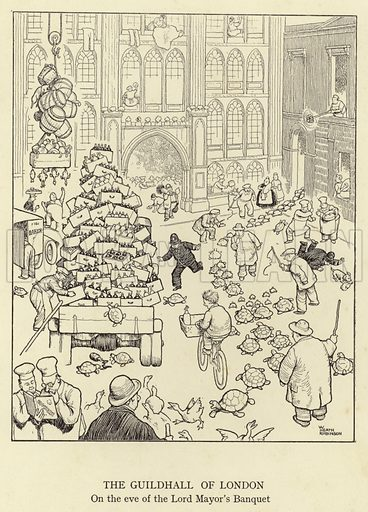 The Guildhall of London, on the eve of the Lord Mayor's Banquet. Illustration for Absurdities, A Book of Collected Drawings by Heath Robinson (Hutchinson, 1934).