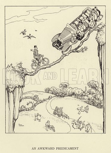 An Awkward Predicament. Illustration for Absurdities, A Book of Collected Drawings by Heath Robinson (Hutchinson, 1934).