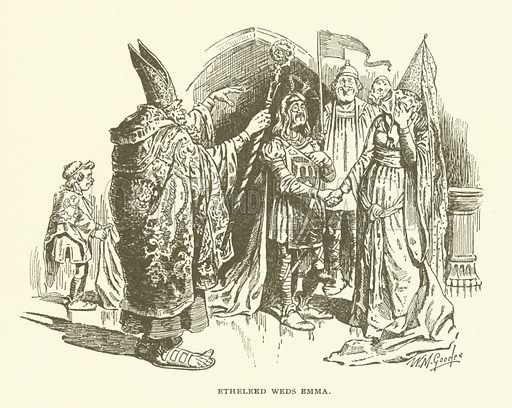 Ethelred Weds Emma. Illustration for Bill Nye's History of England (Lippincott, 1896).  Illustrations by W M Goodes and A M Richards.