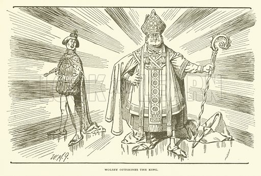 Wolsey Outshines the King. Illustration for Bill Nye's History of England (Lippincott, 1896).  Illustrations by W M Goodes and A M Richards.