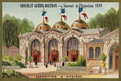 Exposition of hygiene. Souvenir of the Exposition Universelle, Paris, 1889. French educational card, late 19th/early 20th century.