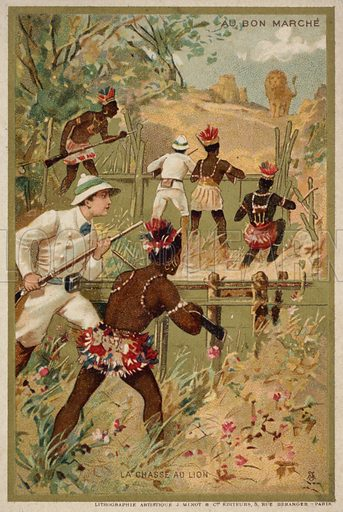 Lion hunt. French educational card, late 19th/early 20th century.