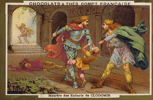 Murder of the children of Chlodomer, King of Orleans, 524. French educational card, late 19th/early 20th century.
