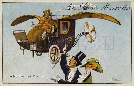 Aero-taxi in the year 2000. French educational card, late 19th/early 20th century.