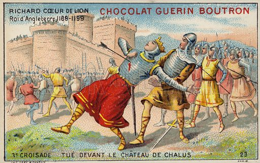 Richard the Lionheart mortally wounded before the Castle of Chalus-Chabrol, 1199. French educational card, late 19th/early 20th century.