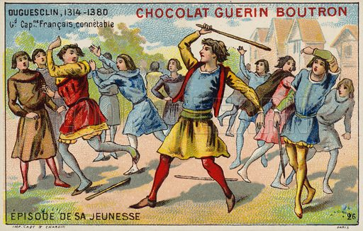 An episode from the youth of Bertrand du Guesclin, Constable of France. French educational card, late 19th/early 20th century.