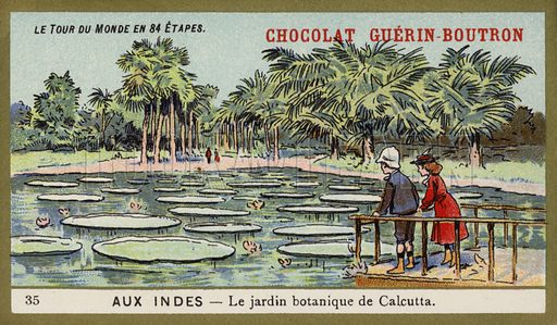 The botanical gardens, Calcutta, India. French educational card, late 19th/early 20th century. From a series on a world tour in 84 stages.