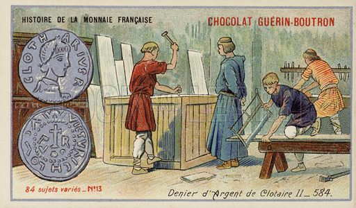 Silver denier of Chlothar II, 584. French educational card, late 19th/early 20th century. From a series on the history of French coins.