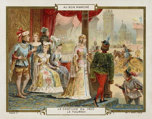 Costume in 1400 - the tournament. French educational card, late 19th/early 20th century.