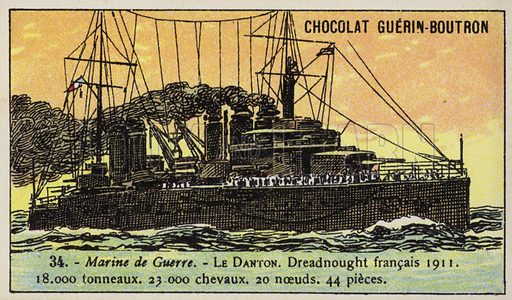 French battleship Danton, 1911. French educational card, late 19th/early 20th century.