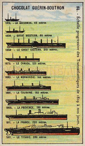 Progressive increase in the size of transatlantic ships from 1819 to 1911