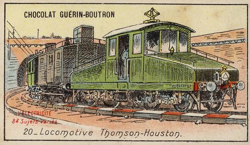 Thomson-Houston locomotive. French educational card, late 19th/early 20th century.